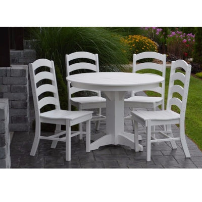 A&L Furniture Co. Amish-Made Poly 5pc Ladderback Dining Set with Round Table