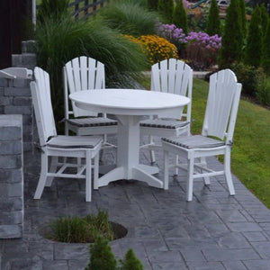 A&L Furniture Co. Poly 5pc Adirondack Dining Set with Round Table, White
