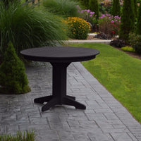 "A&L Furniture 44"" Round Outdoor Poly Dining Table, Black"