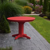 "A&L Furniture 44"" Round Outdoor Poly Dining Table, Bright Red"