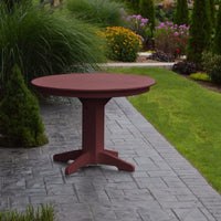 "A&L Furniture 44"" Round Outdoor Poly Dining Table, Cherrywood"