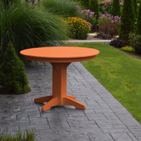 "A&L Furniture 44"" Round Outdoor Poly Dining Table, Orange"
