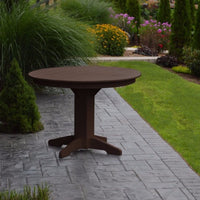 "A&L Furniture 44"" Round Outdoor Poly Dining Table, Tudor Brown"