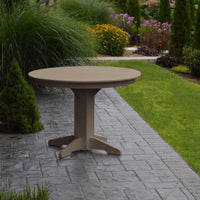 "A&L Furniture 44"" Round Outdoor Poly Dining Table, Weathered Wood"