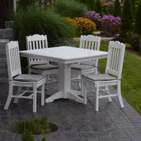 A&L Furniture Poly 5pc Royal Dining Set with Square Table