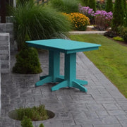 A&L Furniture Amish-Made 4' Outdoor Poly Dining Table, Aruba Blue