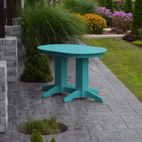 A&L Furniture Amish-Made Rectangular Outdoor Poly Dining Table, Aruba Blue