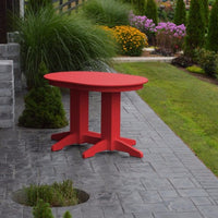 A&L Furniture Amish-Made Rectangular Outdoor Poly Dining Table, Bright Red