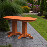 A&L Furniture Amish-Made Rectangular Outdoor Poly Dining Table, Orange