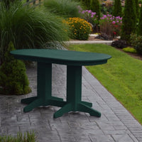A&L Furniture Amish-Made Rectangular Outdoor Poly Dining Table, Turf Green