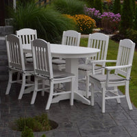A&L Furniture Poly 7pc Classic Dining Set with Oval Table