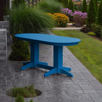 A&L Furniture Amish-Made Rectangular Outdoor Poly Dining Table, Blue