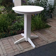 "A&L Furniture 33"" Round Outdoor Poly Bar Table, White"
