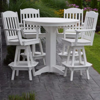 A&L Furniture Co. Poly 5pc Classic Bar Set with Round Table, White