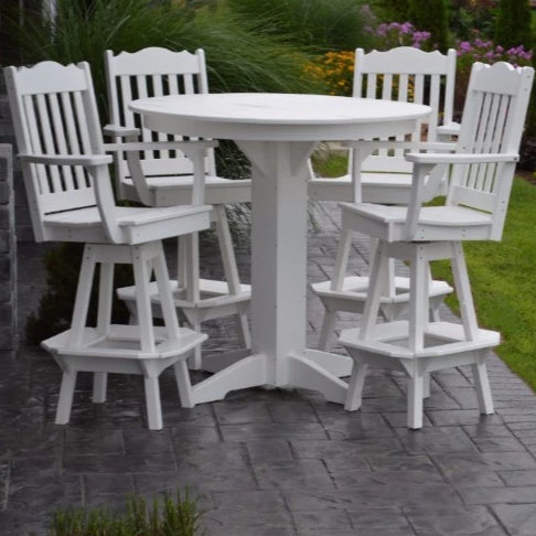A&L Furniture Co. Poly 5pc Royal Bar Set with Round Table, White