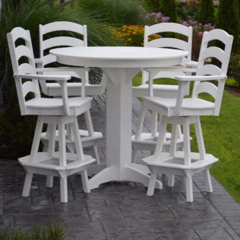 A&L Furniture Co. Poly 5pc Ladderback Bar Set with Round Table, White