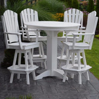 A&L Furniture Co. Amish-Made Poly 5pc Adirondack Bar Set with Round Table, White