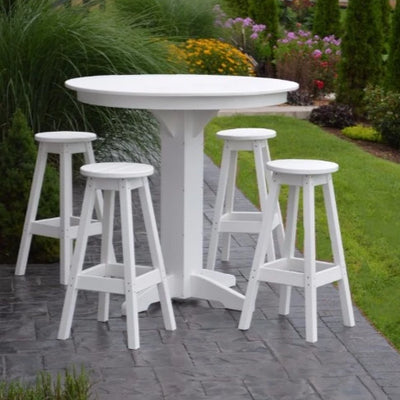 A&L Furniture Co. Poly 5pc Bar Table Set with Round Table, White
