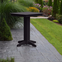 "A&L Furniture 33"" Square Outdoor Poly Bar Table, Black"