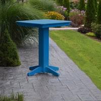 "A&L Furniture 33"" Square Outdoor Poly Bar Table, Blue"