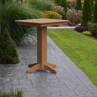 "A&L Furniture 33"" Square Outdoor Poly Bar Table, Cedar"