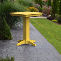 "A&L Furniture 33"" Square Outdoor Poly Bar Table, Lemon Yellow"