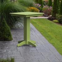 "A&L Furniture 33"" Square Outdoor Poly Bar Table, Tropical Lime"