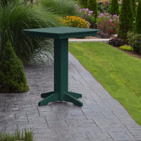 "A&L Furniture 33"" Square Outdoor Poly Bar Table, Turf Green"