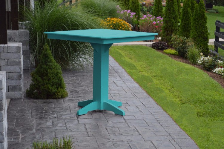 "A&L Furniture 44"" Square Outdoor Poly Bar Table, Aruba Blue"