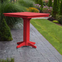 "A&L Furniture 44"" Square Outdoor Poly Bar Table, Bright Red"