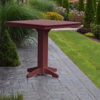 "A&L Furniture 44"" Square Outdoor Poly Bar Table, Cherrywood"