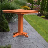 "A&L Furniture 44"" Square Outdoor Poly Bar Table, Orange"