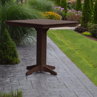 "A&L Furniture 44"" Square Outdoor Poly Bar Table, Tudor Brown"