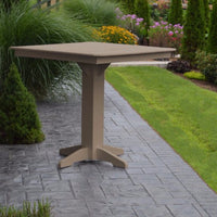 "A&L Furniture 44"" Square Outdoor Poly Bar Table, Weathered Wood"