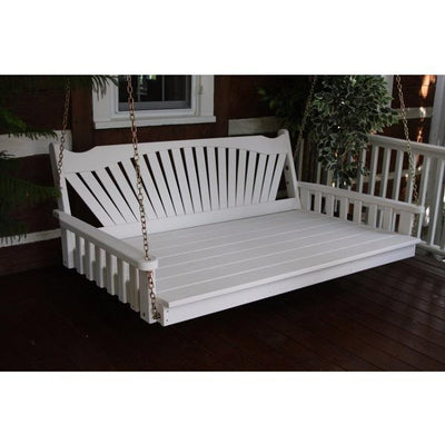 A&L Furniture Amish-Made Pine Fanback Swing Bed, White