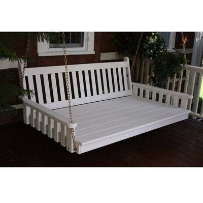 A&L Furniture Amish-Made Pine Traditional English Swing Bed, White