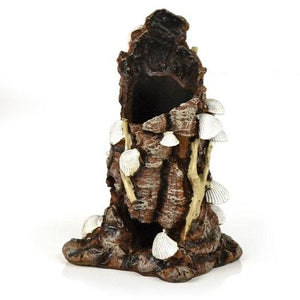 Front view of biOrb® White Shells on Stump Aquatic Ornament