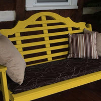 A&L Furniture Amish-Made Pine Marlboro Garden Bench, Canary Yellow