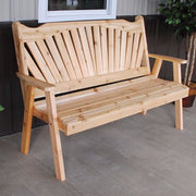 A&L Furniture Cedar Fanback Garden Bench, Unfinished