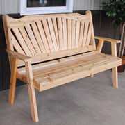 A&L Furniture Amish-Made Pine Fanback Garden Bench, Unfinished