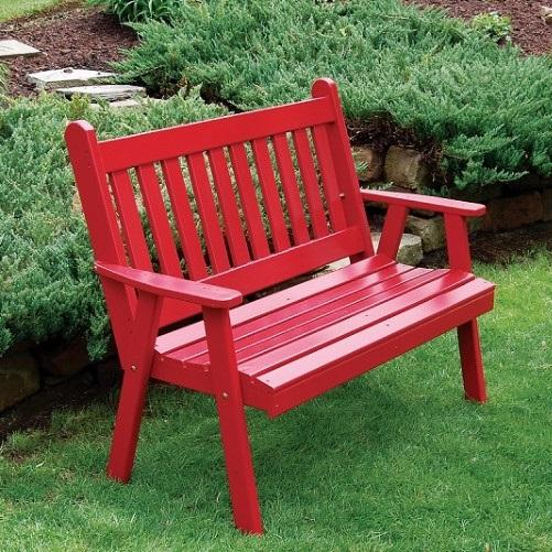 A&L Furniture Amish-Made Pine Traditional English Garden Bench, Tractor Red