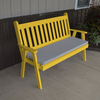 A&L Furniture Amish-Made Pine Traditional English Garden Bench, Canary Yellow