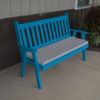A&L Furniture Amish-Made Pine Traditional English Garden Bench, Caribbean Blue