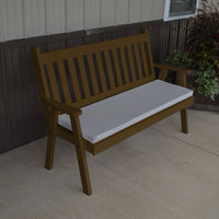 A&L Furniture Amish-Made Pine Traditional English Garden Bench, Coffee