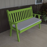 A&L Furniture Amish-Made Pine Traditional English Garden Bench, Lime Green