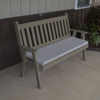 A&L Furniture Amish-Made Pine Traditional English Garden Bench, Olive Gray
