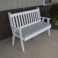 A&L Furniture Amish-Made Pine Traditional English Garden Bench, White