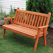 A&L Furniture Co. Amish-Made Cedar Traditional English Garden Bench, Cedar Stain