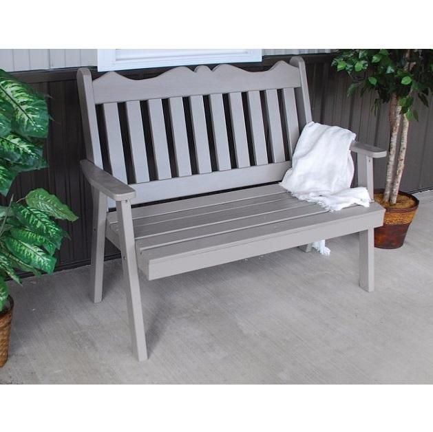 A&L Furniture Amish-Made Pine Royal English Garden Bench, Olive Gray