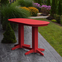 A&L Furniture 6' Oval Amish-Made Poly Bar Table, Bright Red